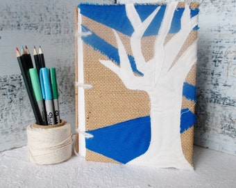 Tree of Life Journal, Recycled Paper Sketchbook, Gratitude Journal, Blank Book, Coptic Stitch, Burlap Blue White, Collage Book, Notebook