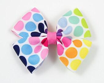 Rainbow Hair Bow, Bright Hair Bow, Polka Dot Hair Bow, Double Tuxedo Bow, Bright Rainbow Hair Bow, Rainbow Bow (Item #10376)