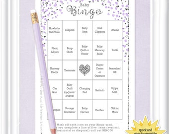 66 card BABY BINGO game in a soft lavender with glittering silver hearts, printable baby bingo,(76_ba)