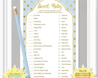 BABY CANDY MATCH game, Baby Shower game with whimsical gold dots and a soft baby blue background, diy Printable, 69BA