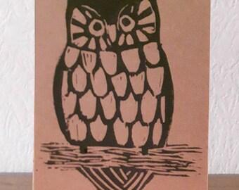 Owl lino cut greetings card