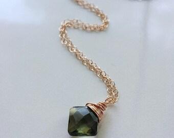 Green Tourmaline Necklace, 14k Rose Gold Tourmaline Necklace, Green Tourmaline Pendant, Green Gemstone Necklace, Rose Gold Pendant