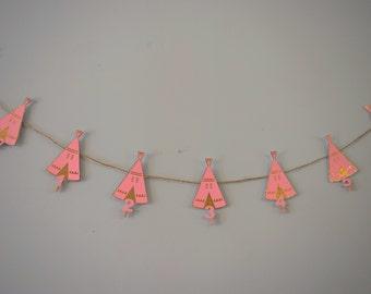 Wild One birthday month banner.Teepee birthday month banner.Gold and pink teepee banner.Teepee and feather banner.