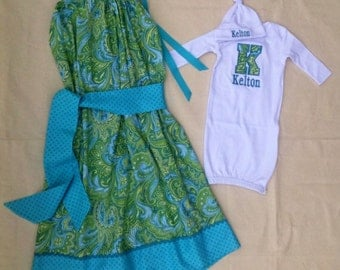 Maternity  Hospital Gown Set for Mommy and baby