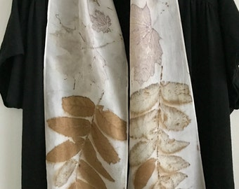 Eco Print Silk Scarf / Natural Dyes / Botanical Print Wall Hanging