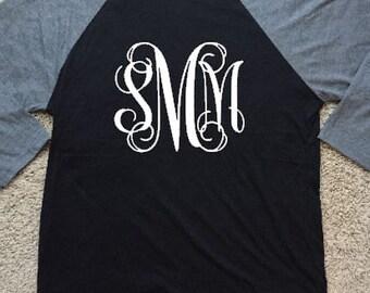 3/4 Sleeve Raglan Tshirt with Vinyl Monogram