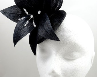 Black fascinator, pillbox fascinator, black headpiece, flower fascinator, tea party hat, made in the UK, wedding guest hat, occasion hat