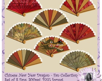 Chinese New Year Dragon Fan Collection, Chinese Dragon, Year of the Dragon, Digital Scrapbooking kit, digiscrap, scrapbook, page kit, cards