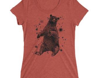 Bear Tshirt - Bear T Shirt - Bear Tee - Graphic Tee For Women - Gift for Her - Ladies Tshirt - Triblend Tshirt - by Bloom Bloom Wear