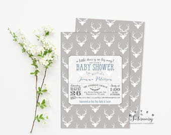 Woodland Baby Shower Invitation Boy Baby Shower Invite Deer Baby Shower Invitation for Boy Gray Blue White Printable OR Printed No.1093BABY