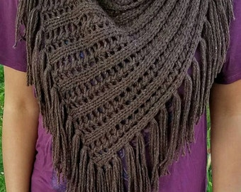 Cowl infinity scarf shawl wrap - hand knit brown tweed