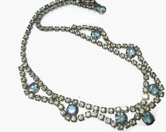 1950s Diamante Rhinestone Necklace ~ Double Row Light Blue&Clear Crystal Choker ~ Hollywood Glam ~ Mid Century Wedding Bridal Jewellery