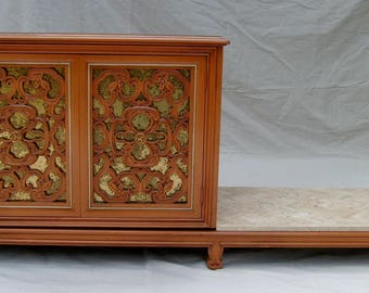 Vintage Mid-Century Credenza or Room Divider by French Designer Pierre Bartet with Rococo Styled Door Panels.
