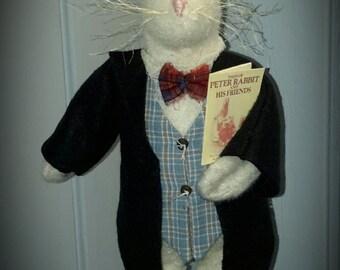 Mr. Hopps, Primitive Rabbit, Country Rabbit, Spring Decor, Easter,Prim Spring Decor, Peter Rabbit