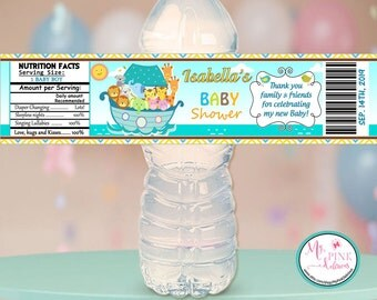 Personalized Noah's Ark Boy Baby shower Water bottle label   / Baby  Shower stickers / Baby shower Favor