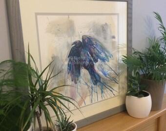 Soar - Original Watercolour & Mixed Media - by Sketchbuck, Framed. Crow, Raven, Corvid, Bird.