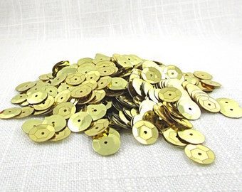 10mm Gold Cup Sequins, Center Hole Metallic Discs, Loose Spangles, Vintage Craft Trim, Fabric Embellishments S178