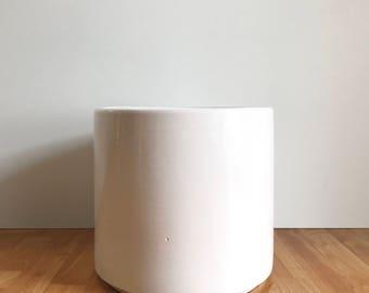 Vintage White Gainey Planter/ Large Gainey AC-12 / Mid Century Planter / Cylinder Planter / White Gainey / Architectural Planter