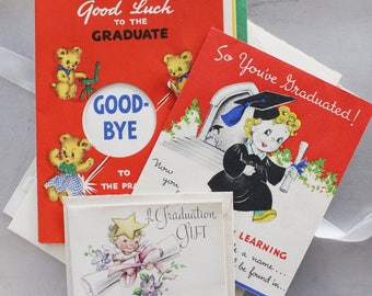 Vintage GRADUATION Card Bundle Assorted 1920s - 1950s, Commencement Greeting Cards, Vintage Scrapbooking Ephemera