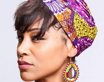 African Purple Print head wrap   Ankara print Head wrap   Printed scarf   African wax print material   Headwrap Scarf   Turban   Print 13
