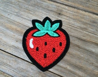 Strawberry Patch, Vintage Embroidered Patch, Fruit Patch, Patch, Applique Iron On Patch, Patches, Gifts for her, Gifts for him, Jacket Patch