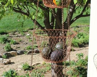3 Tier Copper Hanging Basket,Retro Hanging Fruit Vegetable Basket, Vintage Copper Metal Hanging Basket