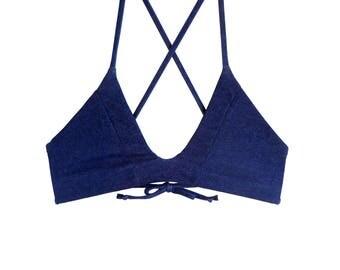Reversible Color Block Bikini Top Denim- MADE TO ORDER- // Gift For Her // Jean // Custom // Handmade // Swimwear // Boho