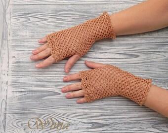 Cotton fingerless gloves, crochet fingerless gloves, cotton mittens, crochet mitts, wedding gloves, boho gloves, knitted mittens, lace glove