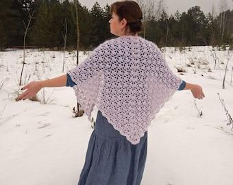 Crochet shawl, knitted shawl, pale-pink lace shawl, openwork shawl, handknit shawl, wool shawl, wedding shawl, bridal shawl triangular