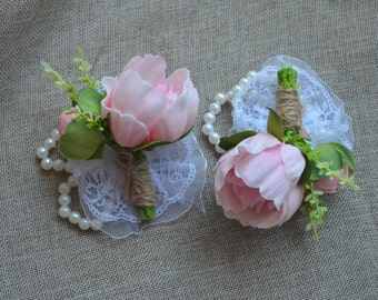 Pink Peony Wrist Corsage Real Touch Flowers Prom Corsage Rustic Peony Corsages