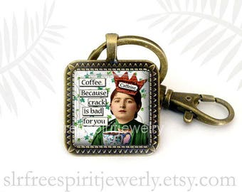 Coffee  Humor Key Chain, Vintage Photo Collage, Coffee Theme Key Chain, Glass Pendant Keychain, Office Gift, Gift for Women, Stocking Stufer