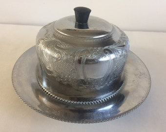 Vintage Pewter Butter/Cheese Dish with a Paisley Pattern on Domed Lid and a Star Cut Glass Insert