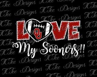 Love My Sooners - University of Oklahoma - OU - College Football SVG File - Vector Design Download - Cut File