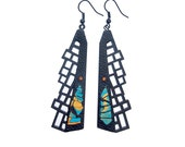 Designer earrings, contemporary, modern jewelry,unique, FREE shipping, lasercut wood, polymer clay, swarovski crystals, black steel hooks