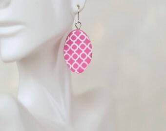 Polymer clay earrings - Statement earrings - Pink hypoallergenic oval dangle earrings - Artisan earrings - Gifts for her - Boho jewelry