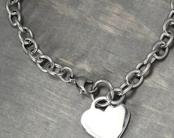 Stainless Steel Charm Bracelets, Heart Charm Bracelet, Charm Bracelet Chain, Metal Stamping, Bracelet Chain