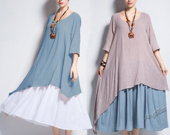 Anysize double color fake two-piece soft linen&cotton Spring Summer Dress plus size dress plus size clothing Y111