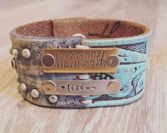 The • Pices of me Collection peachy gray + turquoise Leather cuff