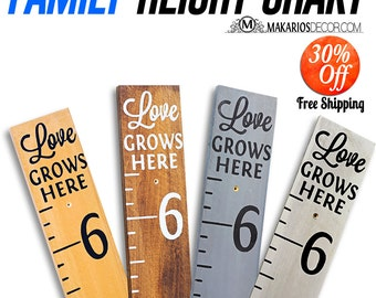 Kids growth chart rulers.Hand painted.homemade giant rulers.measuring sicks.Family Growth Chart.measuring stick (Signature Height Chart)