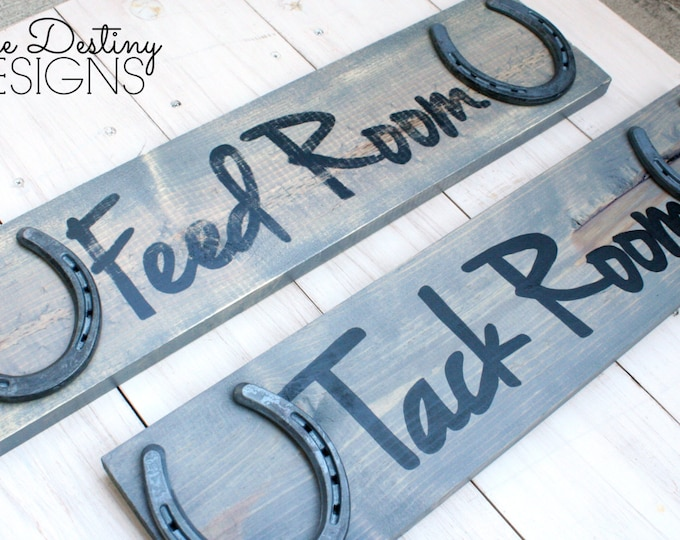 Tack Room and Feed Room Set of Barn Signs - Stable Signs - Font A, rustic, horseshoe sign, rustic horse decor, barn wood, farmhouse, TDD17-2