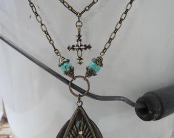 Southwest Necklace - Western Necklace - Boho Necklace - Pendant Necklace - Antique Bronze Necklace - Southwest Jewelry - Turquoise Necklace