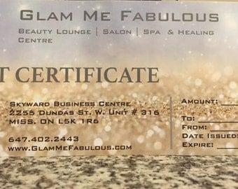 25 DOLLARS Gift Certificate for Glam Me Fabulous