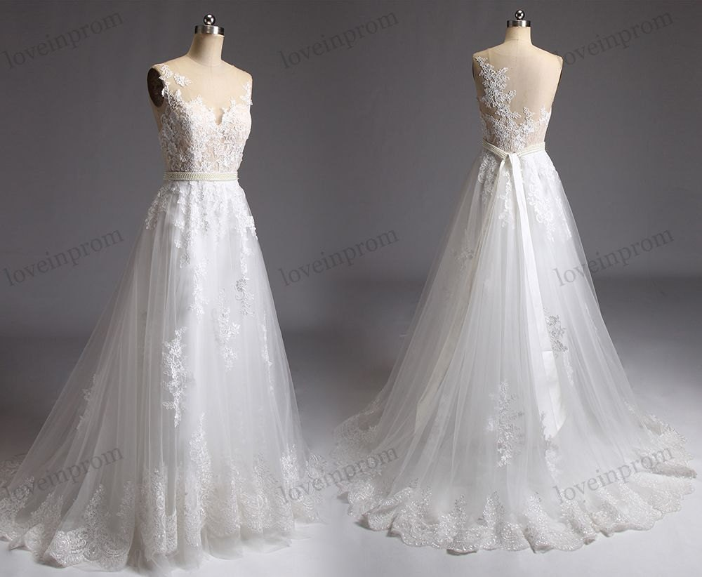 Wedding Dresses Lace Full Skirt : Lace wedding dress tulle skirt boho by