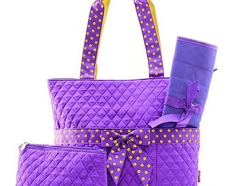 Purple and Yellow Gold Monogrammed Diaper Bag