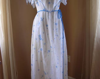 1970s Bianchi Prom Dress - Bridesmaid's Dress Formal Blue Floral Sz XS but Xtra Long