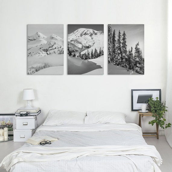 Mountain Canvas, Set Of 3 Prints, Black And White Art, Photography Canvas, Winter Decor, Landscape Photo, Canvas Art Set