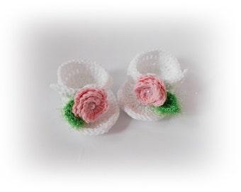 White Flip Flops Baby flip flops pink flower Baby Sandals white sandals Crochet Flip Flops Newborn sandles Crochet Baby Sandal Girl Sandles