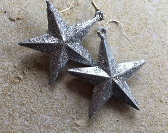 Large Star Earrings,Silver Star Earrings, Beach Earrings, Ocean Earrings, Nautical Earrings, For Her