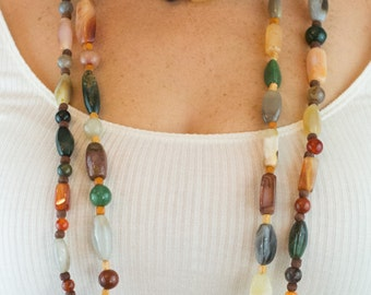 Pair of Vintage Extra Long Gemstone Necklaces