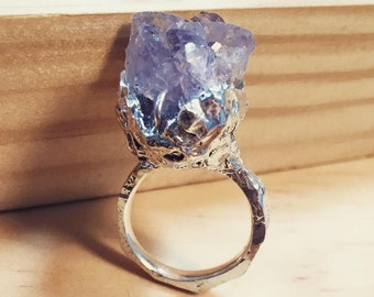 Crystal RIng. Spirit Quartz Solid Sterling Silver Ring. Raw Crystal Ring. Spirit Quartz Ring. Statement Ring. Crystal Jewelry. Boho Ring.